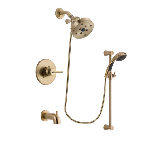 Delta Trinsic Champagne Bronze Finish Tub and Shower Faucet System Package with 5-1/2 inch Showerhead and Personal Handheld Shower Sprayer with Slide Bar Includes Rough-in Valve and Tub Spout DSP3509V