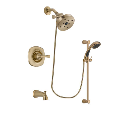 Delta Addison Champagne Bronze Finish Tub and Shower Faucet System Package with 5-1/2 inch Showerhead and Personal Handheld Shower Sprayer with Slide Bar Includes Rough-in Valve and Tub Spout DSP3511V