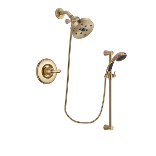 Delta Linden Champagne Bronze Finish Shower Faucet System Package with 5-1/2 inch Showerhead and Personal Handheld Shower Sprayer with Slide Bar Includes Rough-in Valve DSP3514V