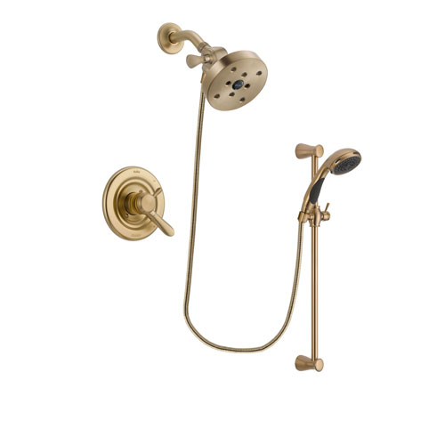 Delta Lahara Champagne Bronze Finish Dual Control Shower Faucet System Package with 5-1/2 inch Showerhead and Personal Handheld Shower Sprayer with Slide Bar Includes Rough-in Valve DSP3516V