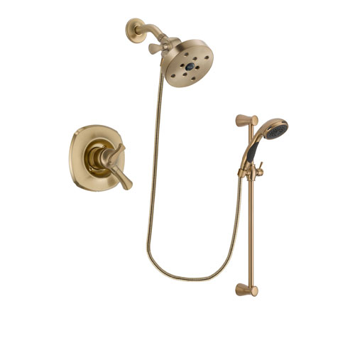 Delta Addison Champagne Bronze Finish Dual Control Shower Faucet System Package with 5-1/2 inch Showerhead and Personal Handheld Shower Sprayer with Slide Bar Includes Rough-in Valve DSP3520V