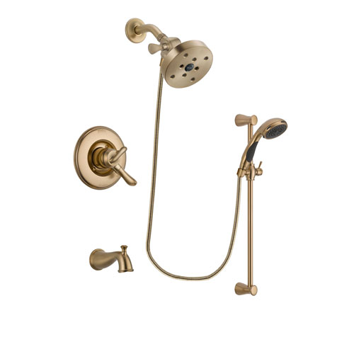 Delta Linden Champagne Bronze Finish Dual Control Tub and Shower Faucet System Package with 5-1/2 inch Showerhead and Personal Handheld Shower Sprayer with Slide Bar Includes Rough-in Valve and Tub Spout DSP3521V