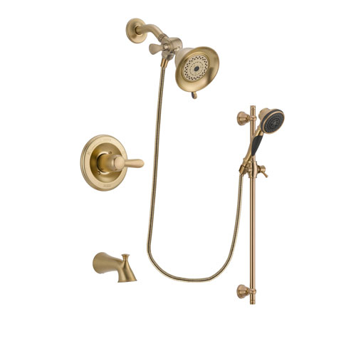 Delta Lahara Champagne Bronze Finish Tub and Shower Faucet System Package with Water-Efficient Shower Head and Personal Handheld Shower Spray with Slide Bar Includes Rough-in Valve and Tub Spout DSP3533V