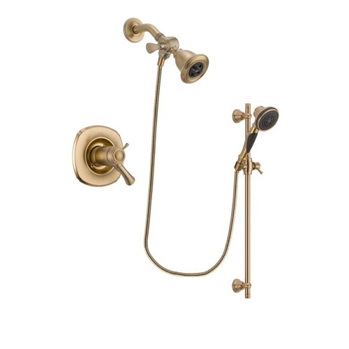 Delta Addison Champagne Bronze Finish Thermostatic Shower Faucet System Package with Water Efficient Showerhead and Personal Handheld Shower Spray with Slide Bar Includes Rough-in Valve DSP3556V