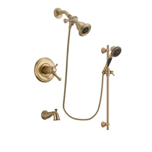 Delta Cassidy Champagne Bronze Finish Thermostatic Tub and Shower Faucet System Package with Water Efficient Showerhead and Personal Handheld Shower Spray with Slide Bar Includes Rough-in Valve and Tub Spout DSP3557V