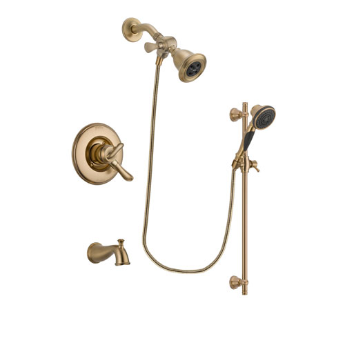 Delta Linden Champagne Bronze Finish Dual Control Tub and Shower Faucet System Package with Water Efficient Showerhead and Personal Handheld Shower Spray with Slide Bar Includes Rough-in Valve and Tub Spout DSP3573V