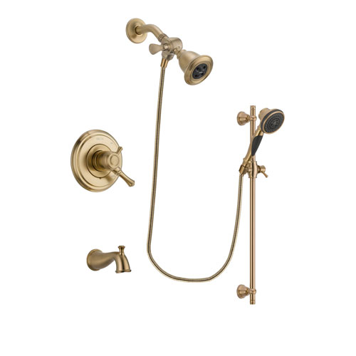 Delta Cassidy Champagne Bronze Finish Dual Control Tub and Shower Faucet System Package with Water Efficient Showerhead and Personal Handheld Shower Spray with Slide Bar Includes Rough-in Valve and Tub Spout DSP3575V