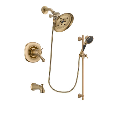 Delta Addison Champagne Bronze Finish Thermostatic Tub and Shower Faucet System Package with Large Rain Shower Head and Personal Handheld Shower Spray with Slide Bar Includes Rough-in Valve and Tub Spout DSP3581V