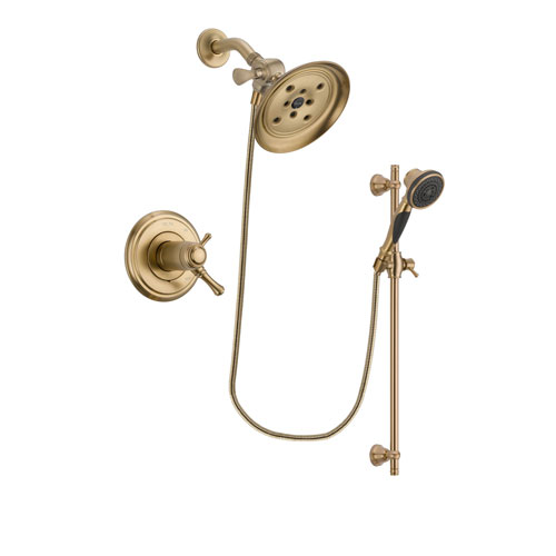 Delta Cassidy Champagne Bronze Finish Thermostatic Shower Faucet System Package with Large Rain Shower Head and Personal Handheld Shower Spray with Slide Bar Includes Rough-in Valve DSP3584V