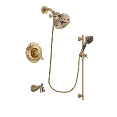 Delta Victorian Champagne Bronze Finish Thermostatic Tub and Shower Faucet System Package with 5-1/2 inch Showerhead and Personal Handheld Shower Spray with Slide Bar Includes Rough-in Valve and Tub Spout DSP3605V