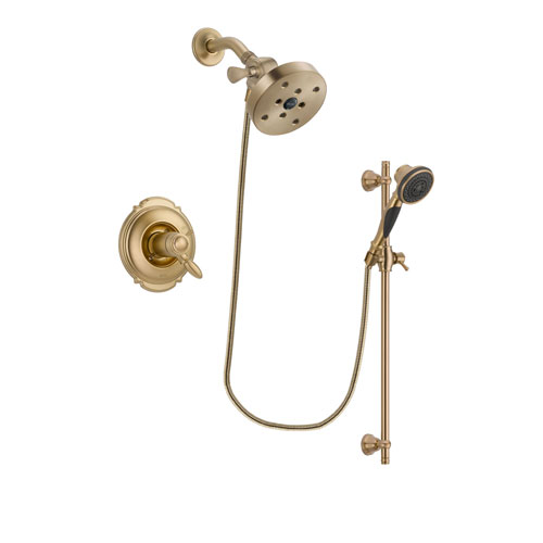 Delta Victorian Champagne Bronze Finish Thermostatic Shower Faucet System Package with 5-1/2 inch Showerhead and Personal Handheld Shower Spray with Slide Bar Includes Rough-in Valve DSP3606V