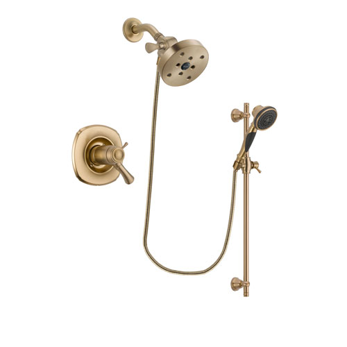 Delta Addison Champagne Bronze Finish Thermostatic Shower Faucet System Package with 5-1/2 inch Showerhead and Personal Handheld Shower Spray with Slide Bar Includes Rough-in Valve DSP3608V