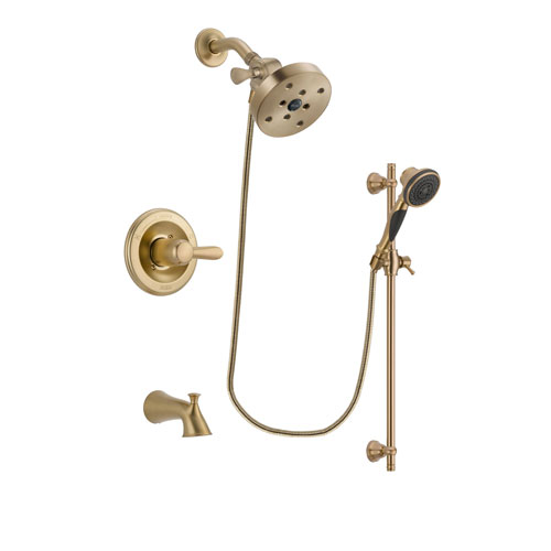 Delta Lahara Champagne Bronze Finish Tub and Shower Faucet System Package with 5-1/2 inch Showerhead and Personal Handheld Shower Spray with Slide Bar Includes Rough-in Valve and Tub Spout DSP3611V