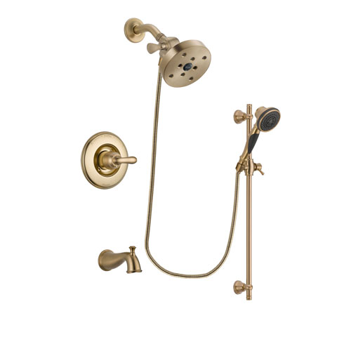 Delta Linden Champagne Bronze Finish Tub and Shower Faucet System Package with 5-1/2 inch Showerhead and Personal Handheld Shower Spray with Slide Bar Includes Rough-in Valve and Tub Spout DSP3617V