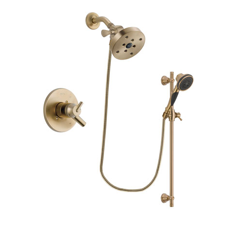 Delta Trinsic Champagne Bronze Finish Dual Control Shower Faucet System Package with 5-1/2 inch Showerhead and Personal Handheld Shower Spray with Slide Bar Includes Rough-in Valve DSP3622V