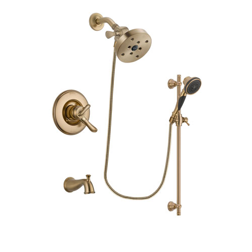 Delta Linden Champagne Bronze Finish Dual Control Tub and Shower Faucet System Package with 5-1/2 inch Showerhead and Personal Handheld Shower Spray with Slide Bar Includes Rough-in Valve and Tub Spout DSP3625V