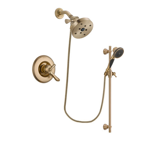 Delta Linden Champagne Bronze Finish Dual Control Shower Faucet System Package with 5-1/2 inch Showerhead and Personal Handheld Shower Spray with Slide Bar Includes Rough-in Valve DSP3626V