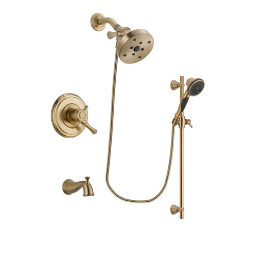 Delta Cassidy Champagne Bronze Finish Dual Control Tub and Shower Faucet System Package with 5-1/2 inch Showerhead and Personal Handheld Shower Spray with Slide Bar Includes Rough-in Valve and Tub Spout DSP3627V