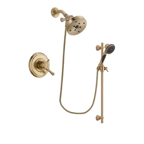 Delta Cassidy Champagne Bronze Finish Dual Control Shower Faucet System Package with 5-1/2 inch Showerhead and Personal Handheld Shower Spray with Slide Bar Includes Rough-in Valve DSP3628V