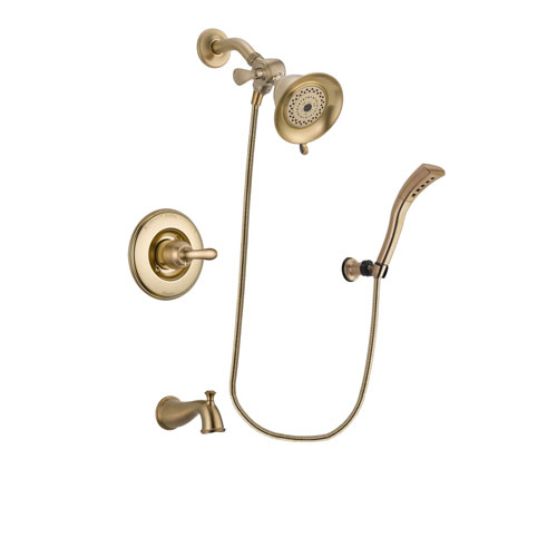 Delta Linden Champagne Bronze Finish Tub and Shower Faucet System Package with Water-Efficient Shower Head and Modern Wall Mount Personal Handheld Shower Spray Includes Rough-in Valve and Tub Spout DSP3643V