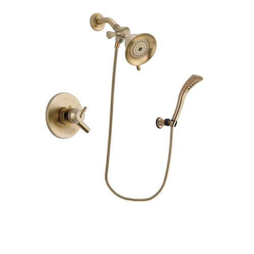 Delta Trinsic Champagne Bronze Finish Dual Control Shower Faucet System Package with Water-Efficient Shower Head and Modern Wall Mount Personal Handheld Shower Spray Includes Rough-in Valve DSP3648V