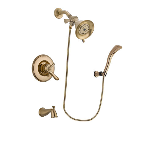 Delta Linden Champagne Bronze Finish Dual Control Tub and Shower Faucet System Package with Water-Efficient Shower Head and Modern Wall Mount Personal Handheld Shower Spray Includes Rough-in Valve and Tub Spout DSP3651V