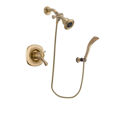 Delta Addison Champagne Bronze Finish Thermostatic Shower Faucet System Package with Water Efficient Showerhead and Modern Wall Mount Personal Handheld Shower Spray Includes Rough-in Valve DSP3660V