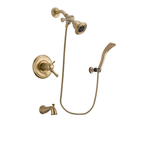 Delta Cassidy Champagne Bronze Finish Thermostatic Tub and Shower Faucet System Package with Water Efficient Showerhead and Modern Wall Mount Personal Handheld Shower Spray Includes Rough-in Valve and Tub Spout DSP3661V