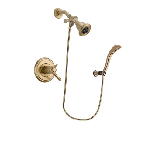 Delta Cassidy Champagne Bronze Finish Thermostatic Shower Faucet System Package with Water Efficient Showerhead and Modern Wall Mount Personal Handheld Shower Spray Includes Rough-in Valve DSP3662V