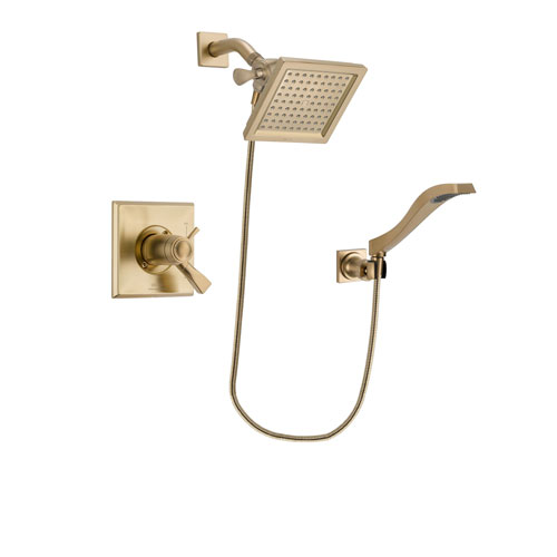 Delta Dryden Champagne Bronze Finish Thermostatic Shower Faucet System Package with 6.5-inch Square Rain Showerhead and Modern Wall Mount Handheld Shower Spray Includes Rough-in Valve DSP3850V