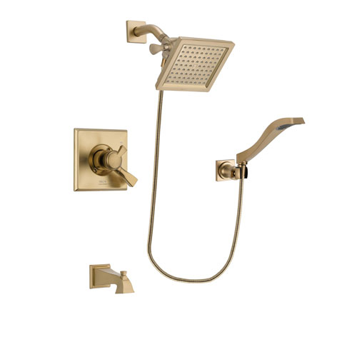 Delta Dryden Champagne Bronze Finish Dual Control Tub and Shower Faucet System Package with 6.5-inch Square Rain Showerhead and Modern Wall Mount Handheld Shower Spray Includes Rough-in Valve and Tub Spout DSP3857V