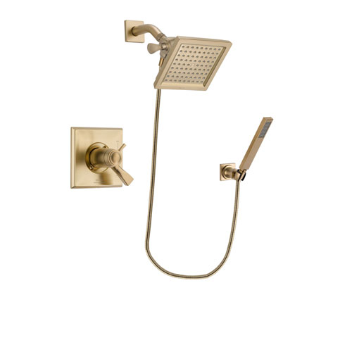 Delta Dryden Champagne Bronze Finish Thermostatic Shower Faucet System Package with 6.5-inch Square Rain Showerhead and Modern Wall-Mount Handheld Shower Stick Includes Rough-in Valve DSP3886V