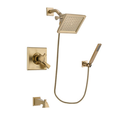 Delta Dryden Champagne Bronze Finish Dual Control Tub and Shower Faucet System Package with 6.5-inch Square Rain Showerhead and Modern Wall-Mount Handheld Shower Stick Includes Rough-in Valve and Tub Spout DSP3893V
