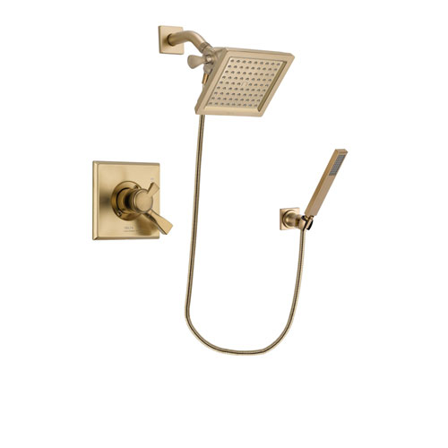 Delta Dryden Champagne Bronze Finish Dual Control Shower Faucet System Package with 6.5-inch Square Rain Showerhead and Modern Wall-Mount Handheld Shower Stick Includes Rough-in Valve DSP3894V