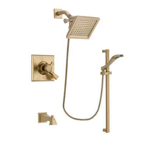 Delta Dryden Champagne Bronze Finish Dual Control Tub and Shower Faucet System Package with 6.5-inch Square Rain Showerhead and Modern Handheld Shower Spray with Slide Bar Includes Rough-in Valve and Tub Spout DSP3929V