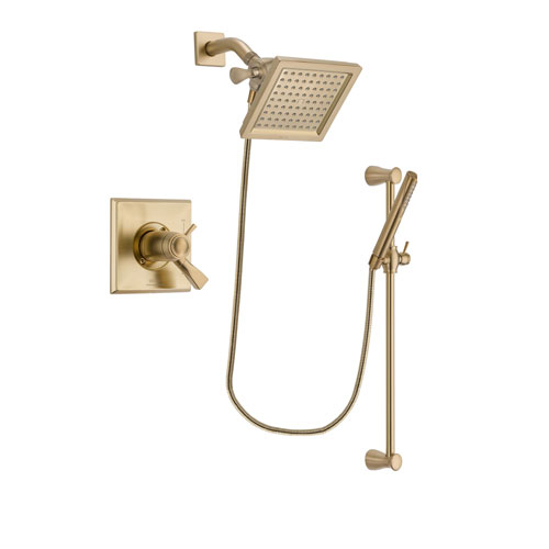 Delta Dryden Champagne Bronze Finish Thermostatic Shower Faucet System Package with 6.5-inch Square Rain Showerhead and Modern Handheld Shower with Slide Bar Includes Rough-in Valve DSP3958V
