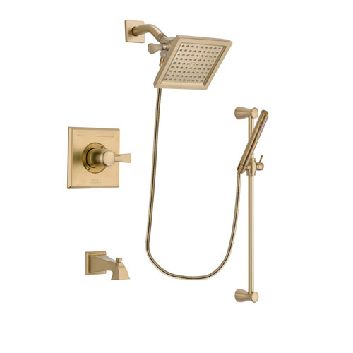 Delta Dryden Champagne Bronze Finish Tub and Shower Faucet System Package with 6.5-inch Square Rain Showerhead and Modern Handheld Shower with Slide Bar Includes Rough-in Valve and Tub Spout DSP3961V