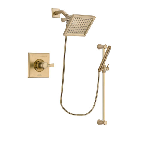 Delta Dryden Champagne Bronze Finish Shower Faucet System Package with 6.5-inch Square Rain Showerhead and Modern Handheld Shower with Slide Bar Includes Rough-in Valve DSP3962V