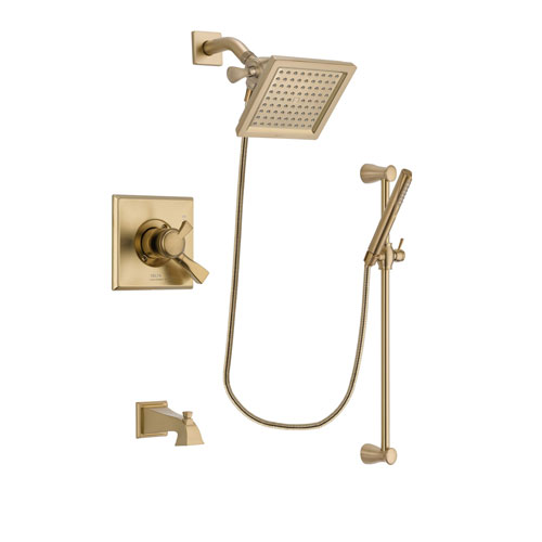Delta Dryden Champagne Bronze Finish Dual Control Tub and Shower Faucet System Package with 6.5-inch Square Rain Showerhead and Modern Handheld Shower with Slide Bar Includes Rough-in Valve and Tub Spout DSP3965V