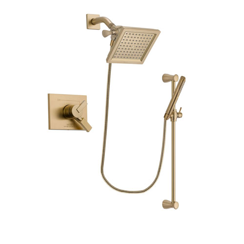 Delta Vero Champagne Bronze Finish Dual Control Shower Faucet System Package with 6.5-inch Square Rain Showerhead and Modern Handheld Shower with Slide Bar Includes Rough-in Valve DSP3968V