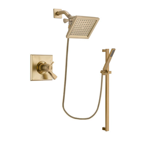 Delta Dryden Champagne Bronze Finish Thermostatic Shower Faucet System Package with 6.5-inch Square Rain Showerhead and Modern Handheld Shower with Square Slide Bar Includes Rough-in Valve DSP3994V