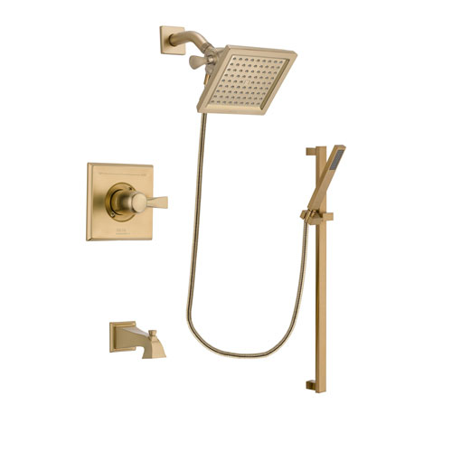 Delta Dryden Champagne Bronze Finish Tub and Shower Faucet System Package with 6.5-inch Square Rain Showerhead and Modern Handheld Shower with Square Slide Bar Includes Rough-in Valve and Tub Spout DSP3997V