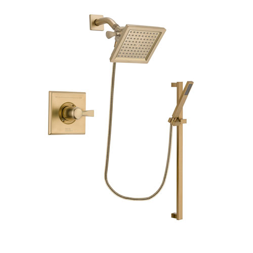 Delta Dryden Champagne Bronze Finish Shower Faucet System Package with 6.5-inch Square Rain Showerhead and Modern Handheld Shower with Square Slide Bar Includes Rough-in Valve DSP3998V