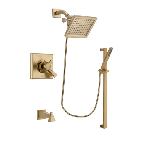 Delta Dryden Champagne Bronze Finish Dual Control Tub and Shower Faucet System Package with 6.5-inch Square Rain Showerhead and Modern Handheld Shower with Square Slide Bar Includes Rough-in Valve and Tub Spout DSP4001V