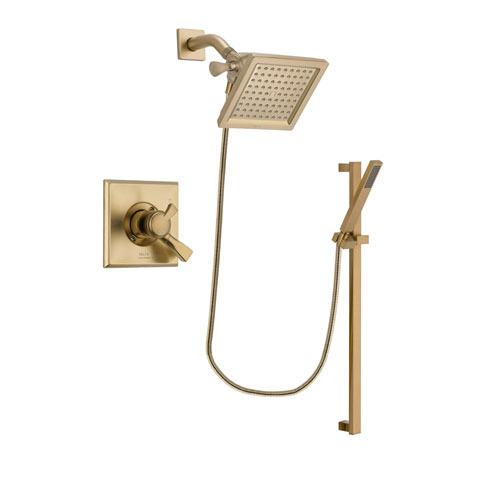 Delta Dryden Champagne Bronze Finish Dual Control Shower Faucet System Package with 6.5-inch Square Rain Showerhead and Modern Handheld Shower with Square Slide Bar Includes Rough-in Valve DSP4002V
