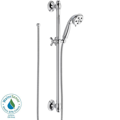 Delta 3-Spray Handshower with Slide Bar in Chrome Featuring H2Okinetic 604238