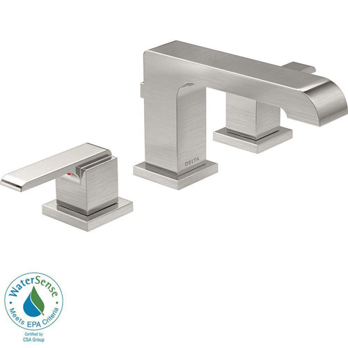 Delta Ara 8 inch Widespread 2-Handle High-Arc Bathroom Faucet in Stainless Steel Finish 672550