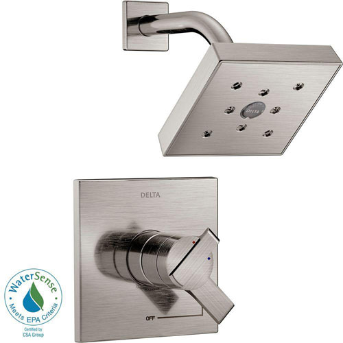 Delta Ara 1-Handle H2Okinetic Shower Faucet Trim Kit in Stainless Steel Finish (Valve Not Included) 682974