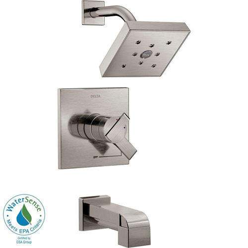 Delta Ara 1-Handle H2Okinetic Tub and Shower Faucet Trim Kit in Stainless Steel Finish (Valve Not Included) 682975