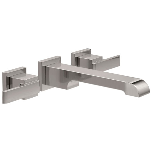 Delta Ara 8 inch Wallmount 2-Handle Bathroom Faucet Trim Kit in Stainless Steel Finish (Valve Not Included) 682979